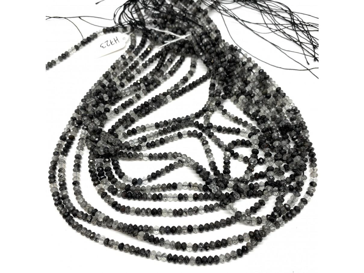 facetslebne rondeller sort rutilkvarts