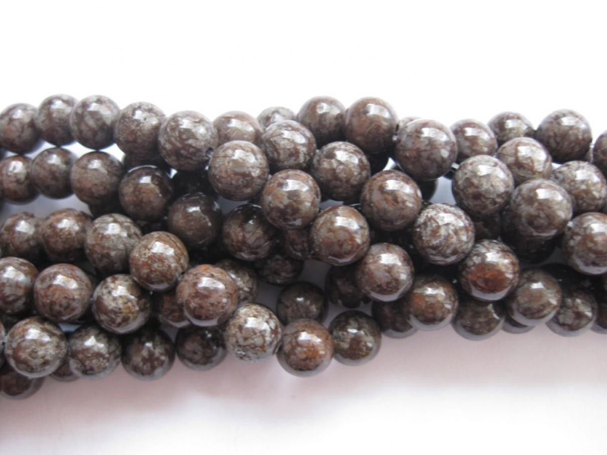 Brun snowflake obsidian, rund 8mm