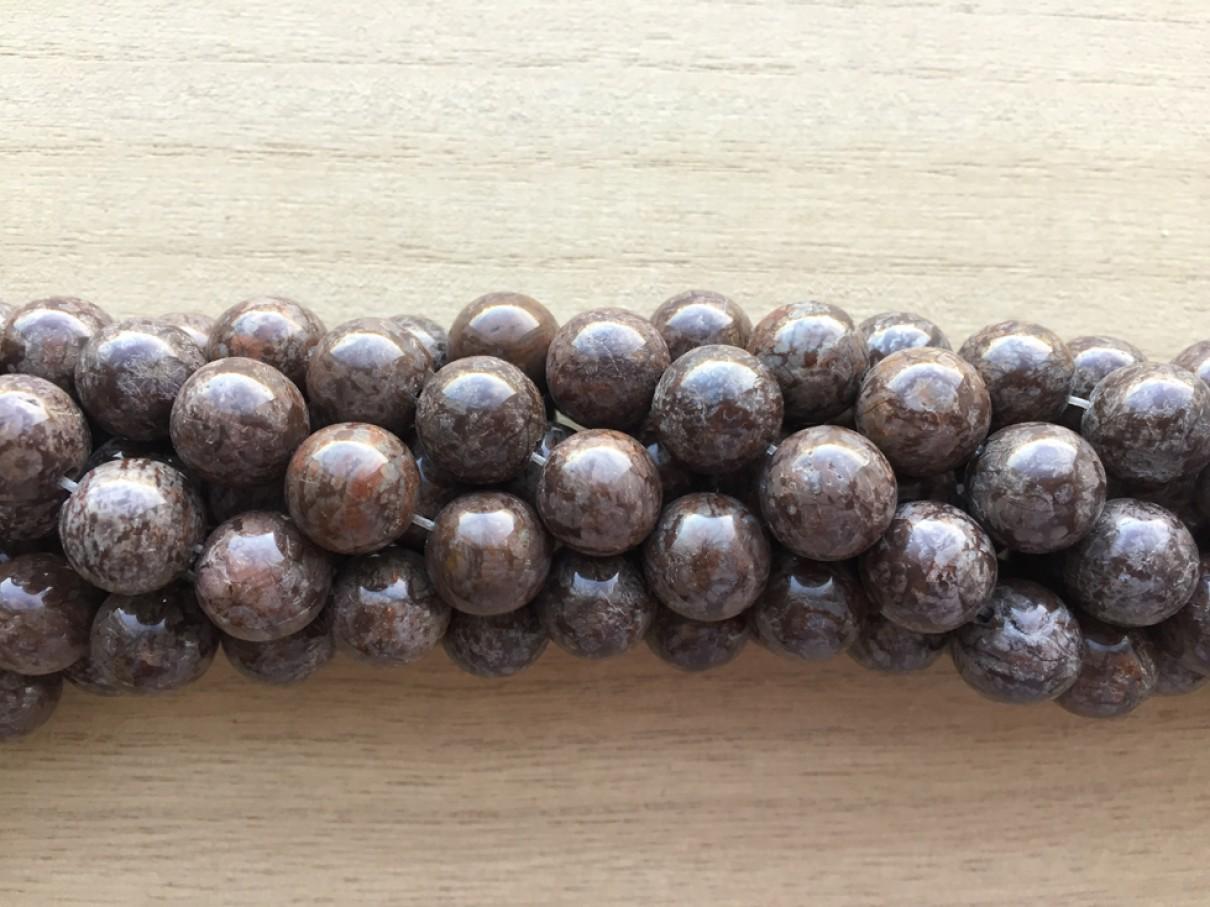 Brun snowflake obsidian, rund 14mm