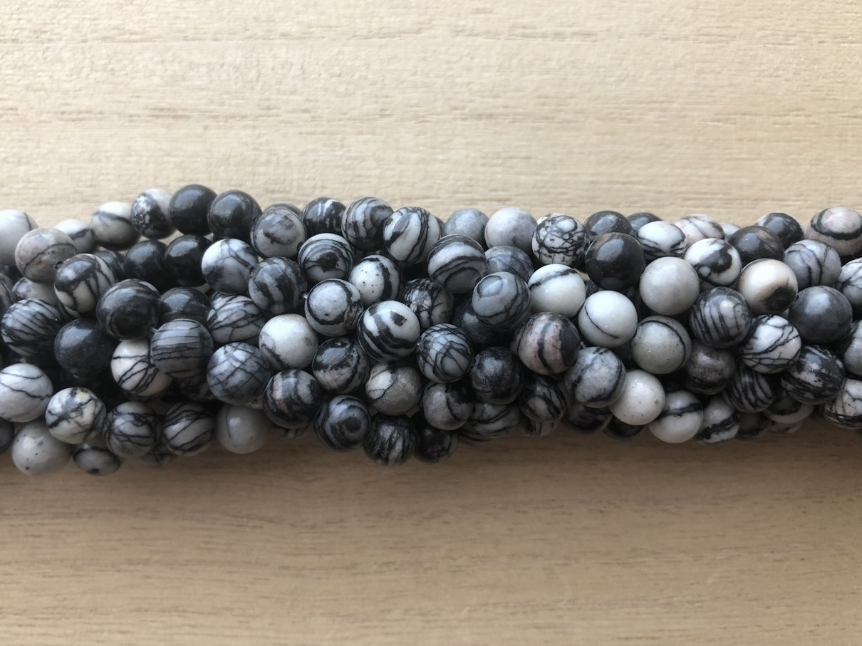 6mm black veined jaspis perler