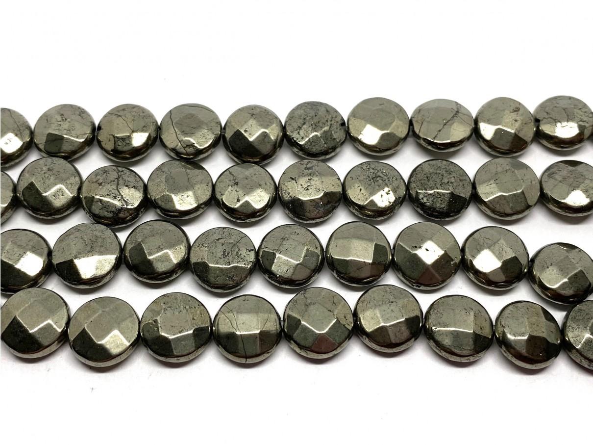 Pyrit, facetslebet mønt 10mm