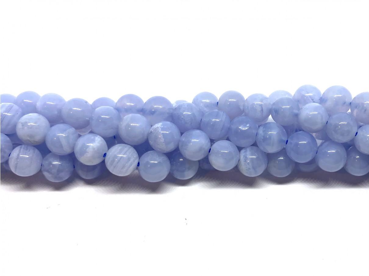 Blå Kalcedon, rund 6mm, hel streng