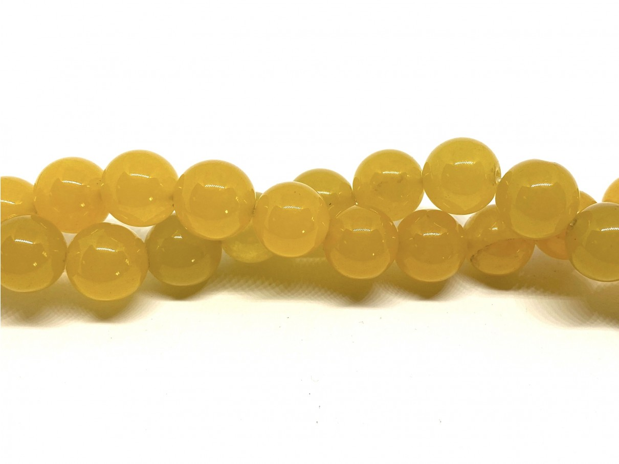 Farvet jade, gul rund 12mm