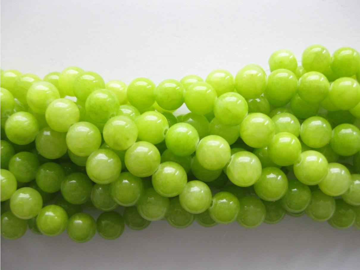 Lys lemon mashan jade, rund 8mm