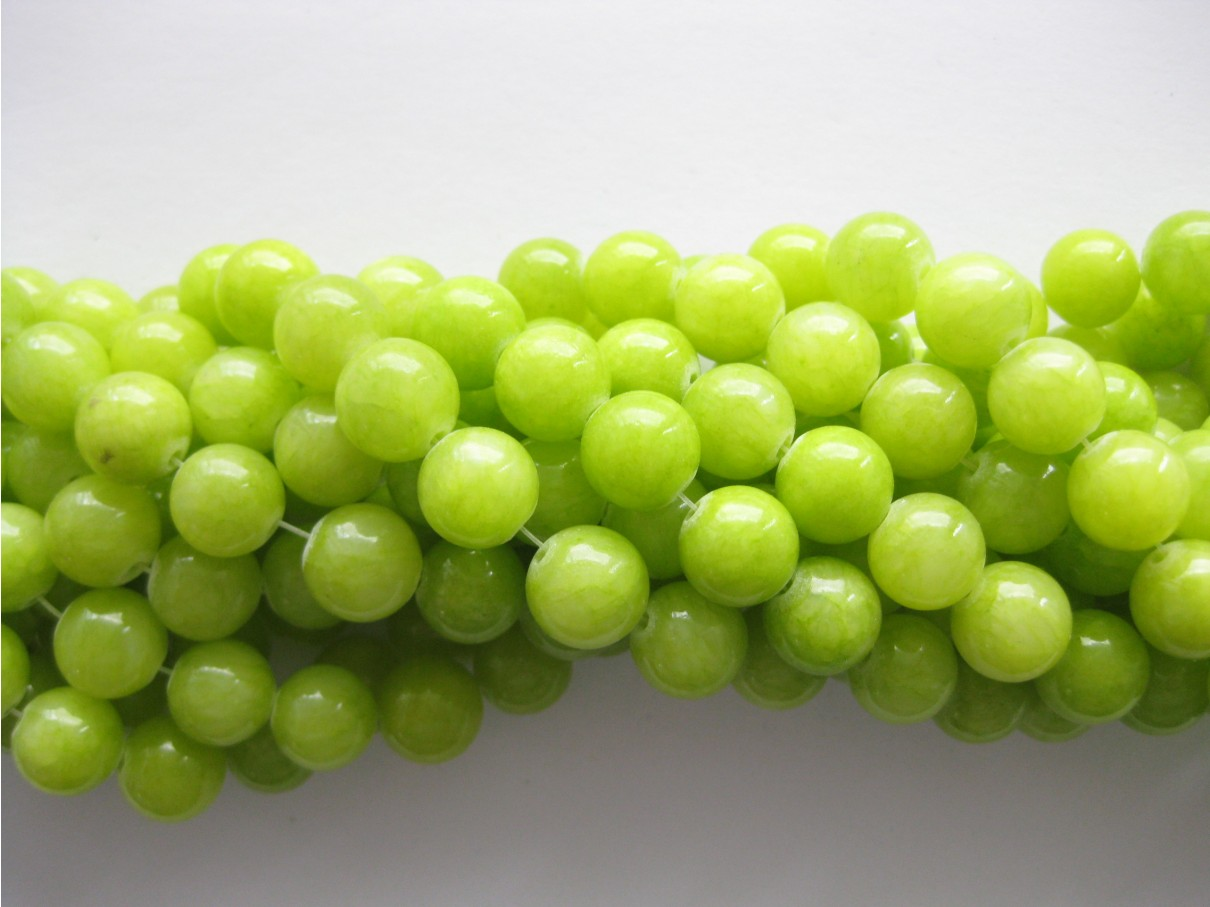 Lys lemon mashan jade, rund 10mm