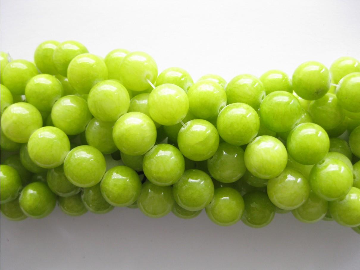 Lys lemon mashan jade, rund 12mm