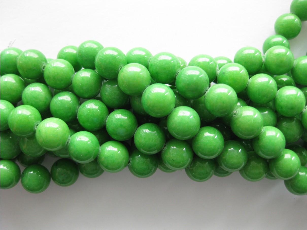 Grøn mashan jade, rund 12mm