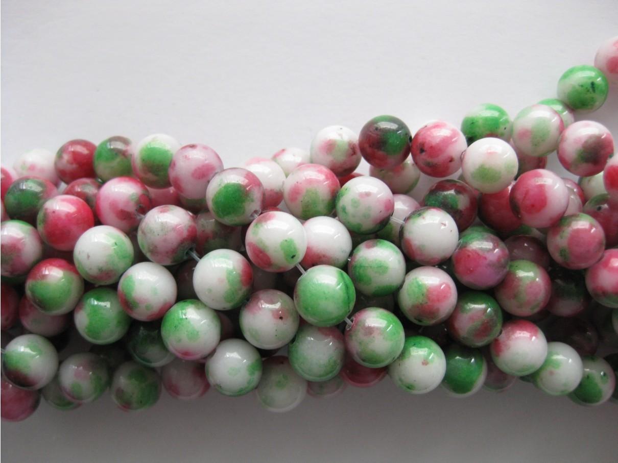 Rød-grøn-hvid mashan jade, rund 10mm