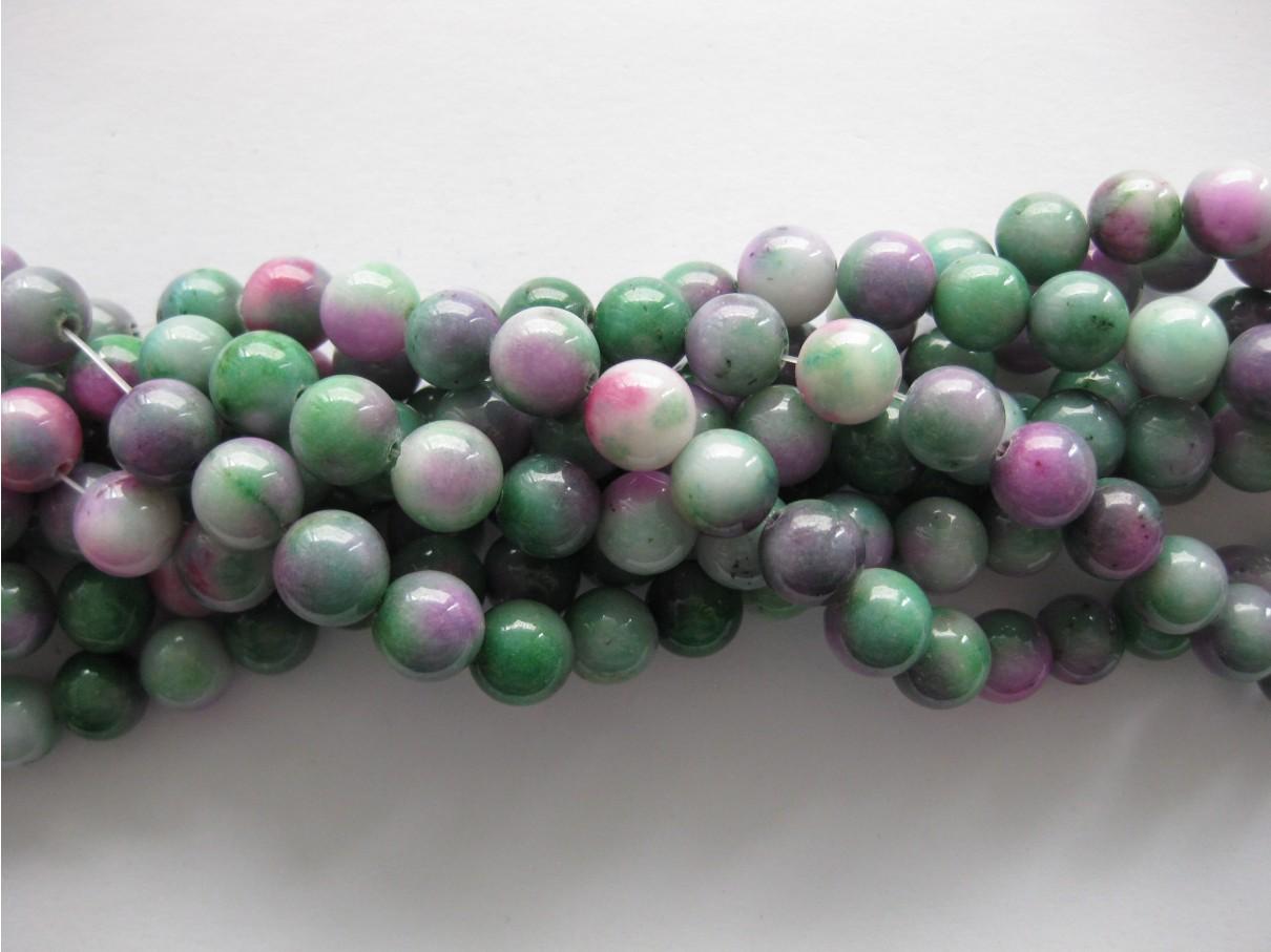 Grøn-lilla mashan jade, rund 10mm