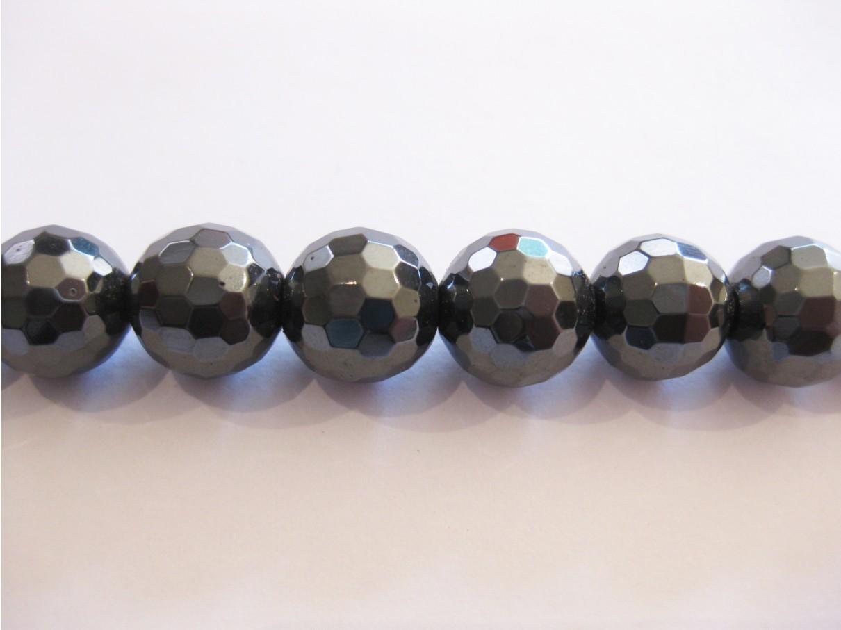 Hæmatit, facetslebet rund 10mm (128 facetter)-3