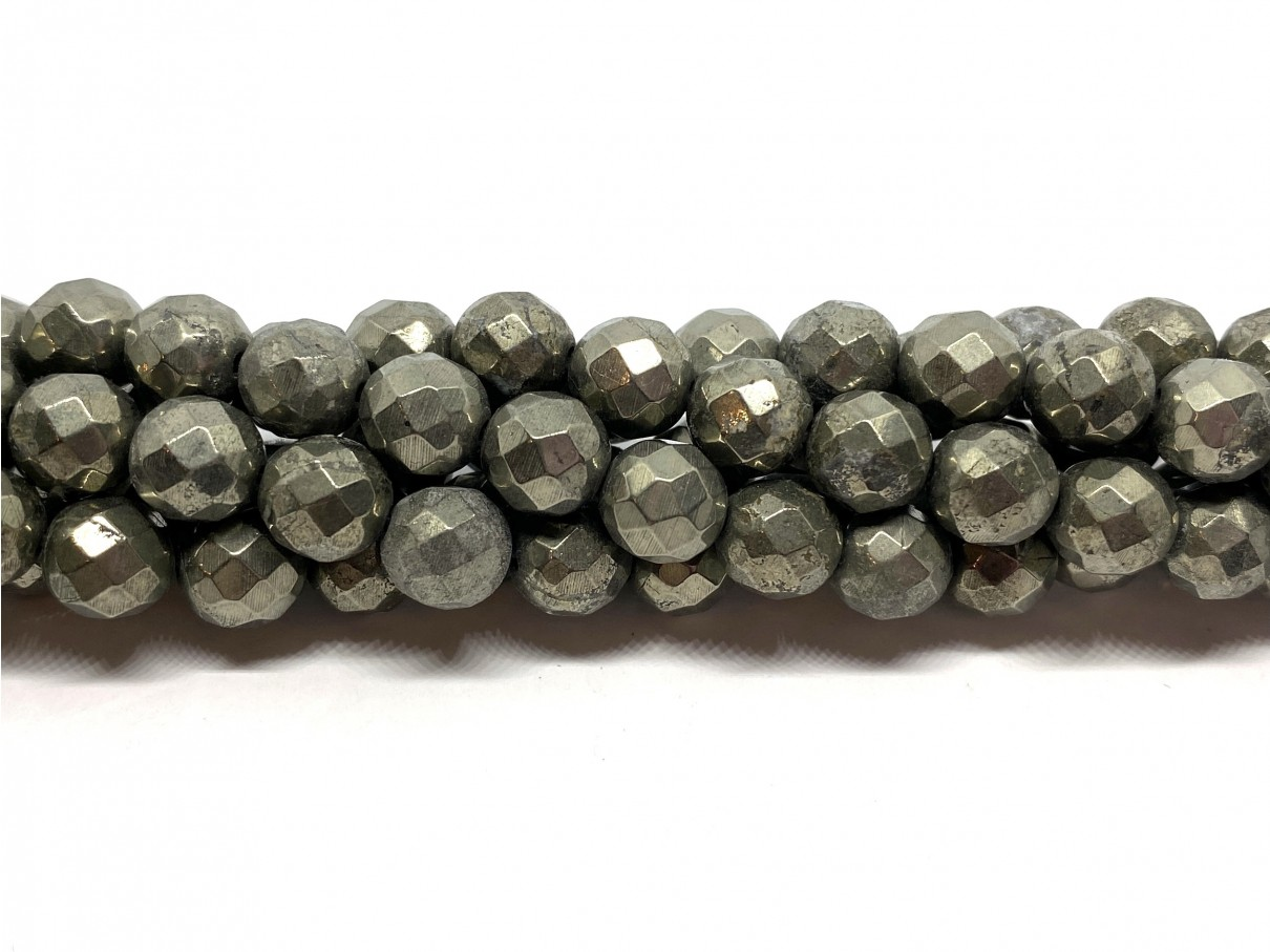 Pyrit, facetslebet rund 8mm (64 facetter)
