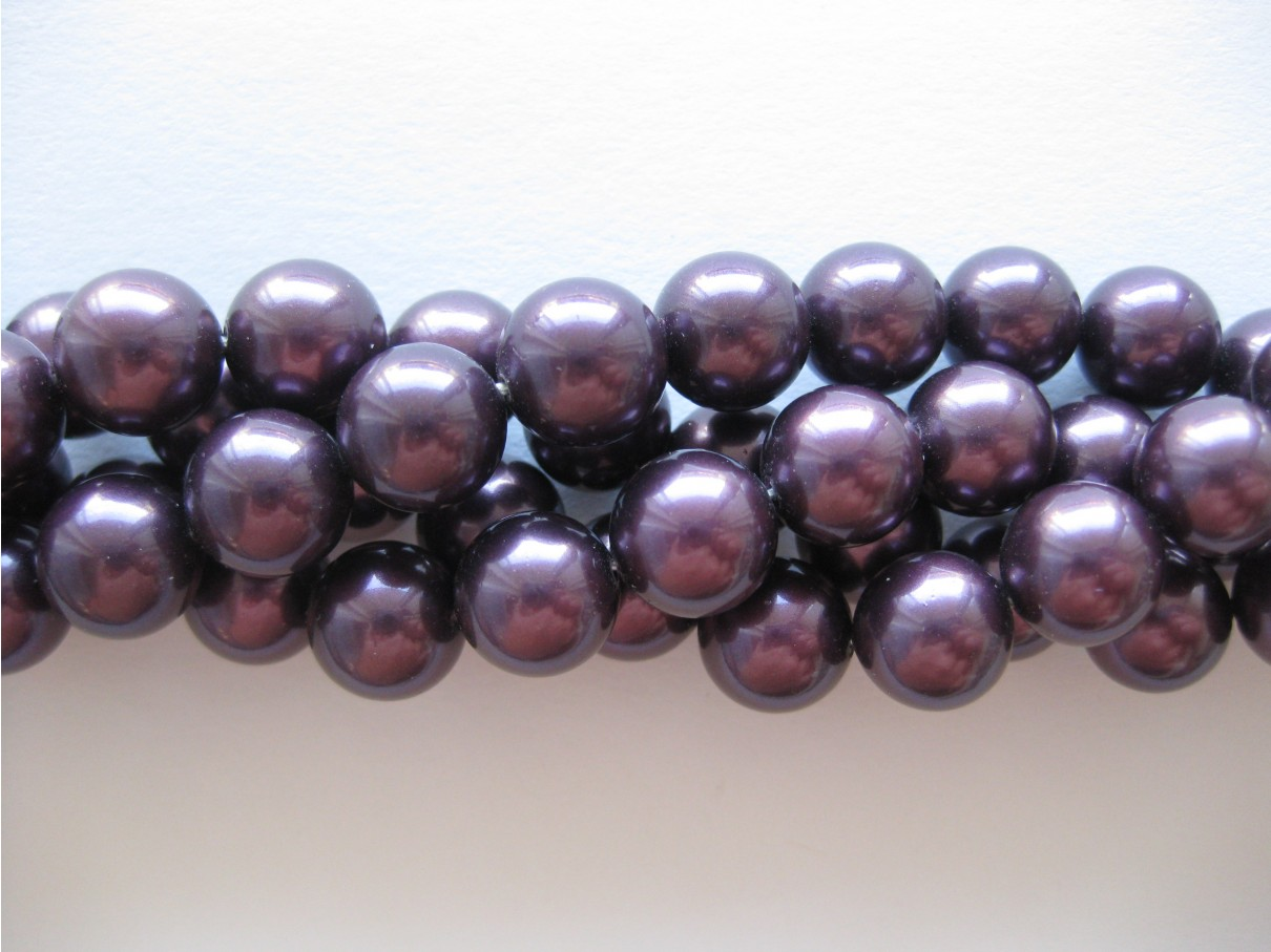 Shell pearl, bordeaux-lilla 10mm