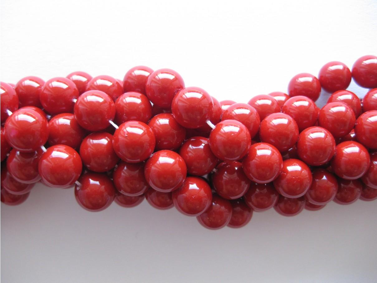 Shell pearl, rød 10mm