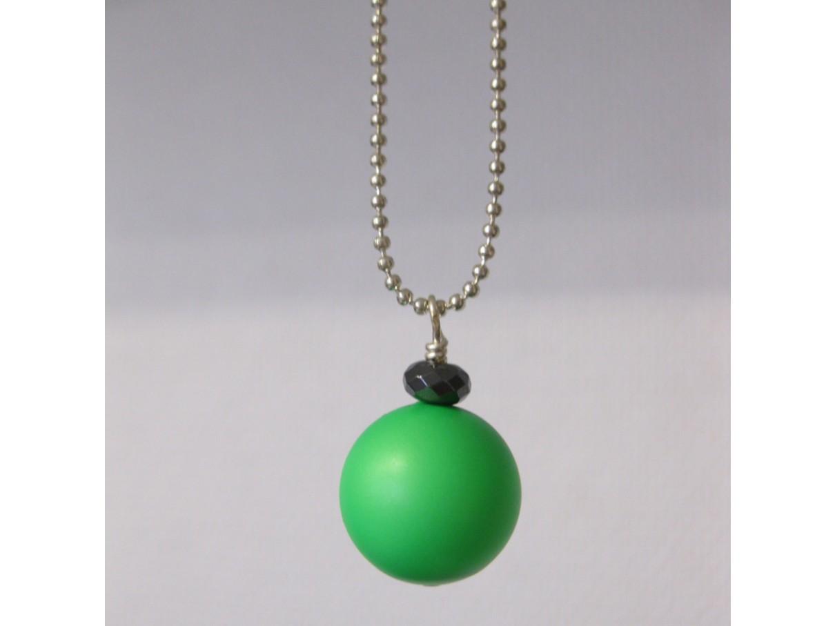 Kuglekæde m. swarovski crystal pearl