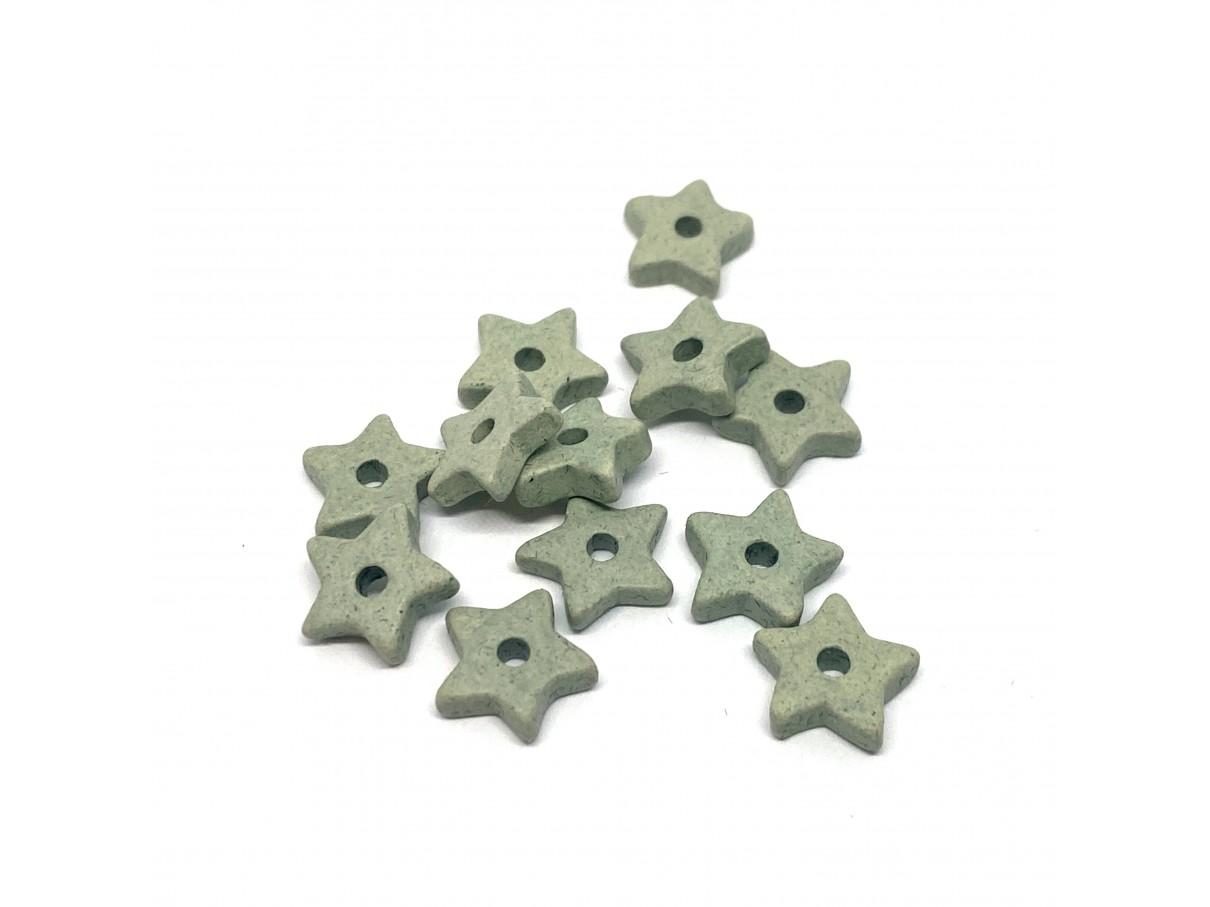 9mm keramikstjerne, støvet grøn