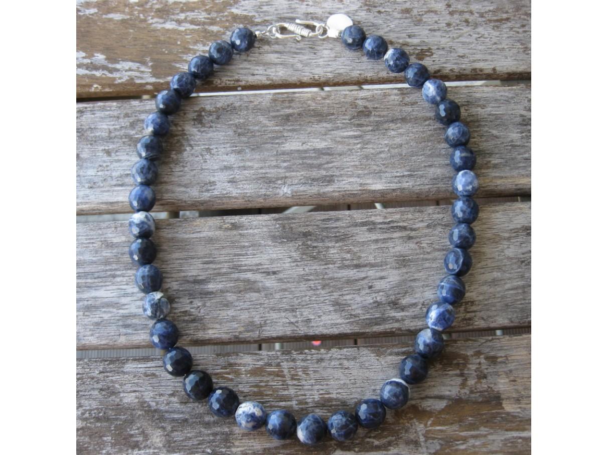 Halskæde, facetslebet blå sodalit