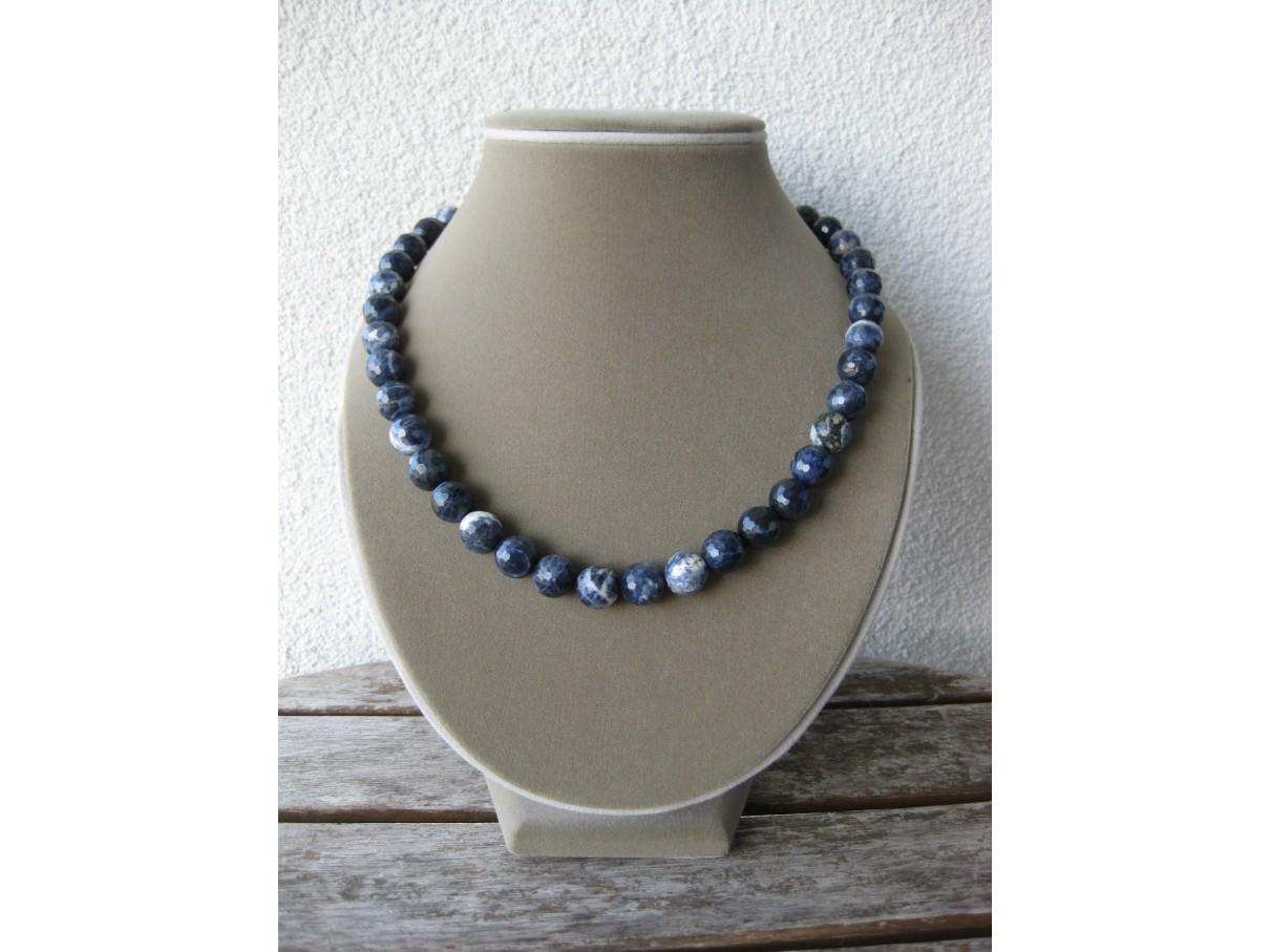 Halskæde, facetslebet blå sodalit-0