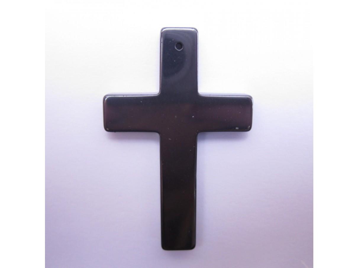 Kors vedhæng af hæmatit