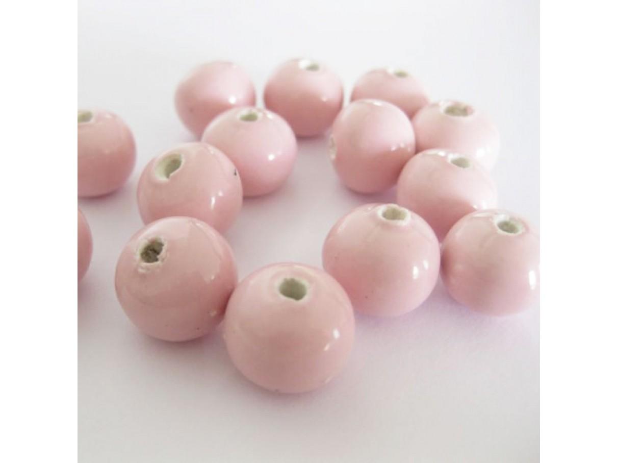 14mm lyserøde porcelænsperler, 10 stk