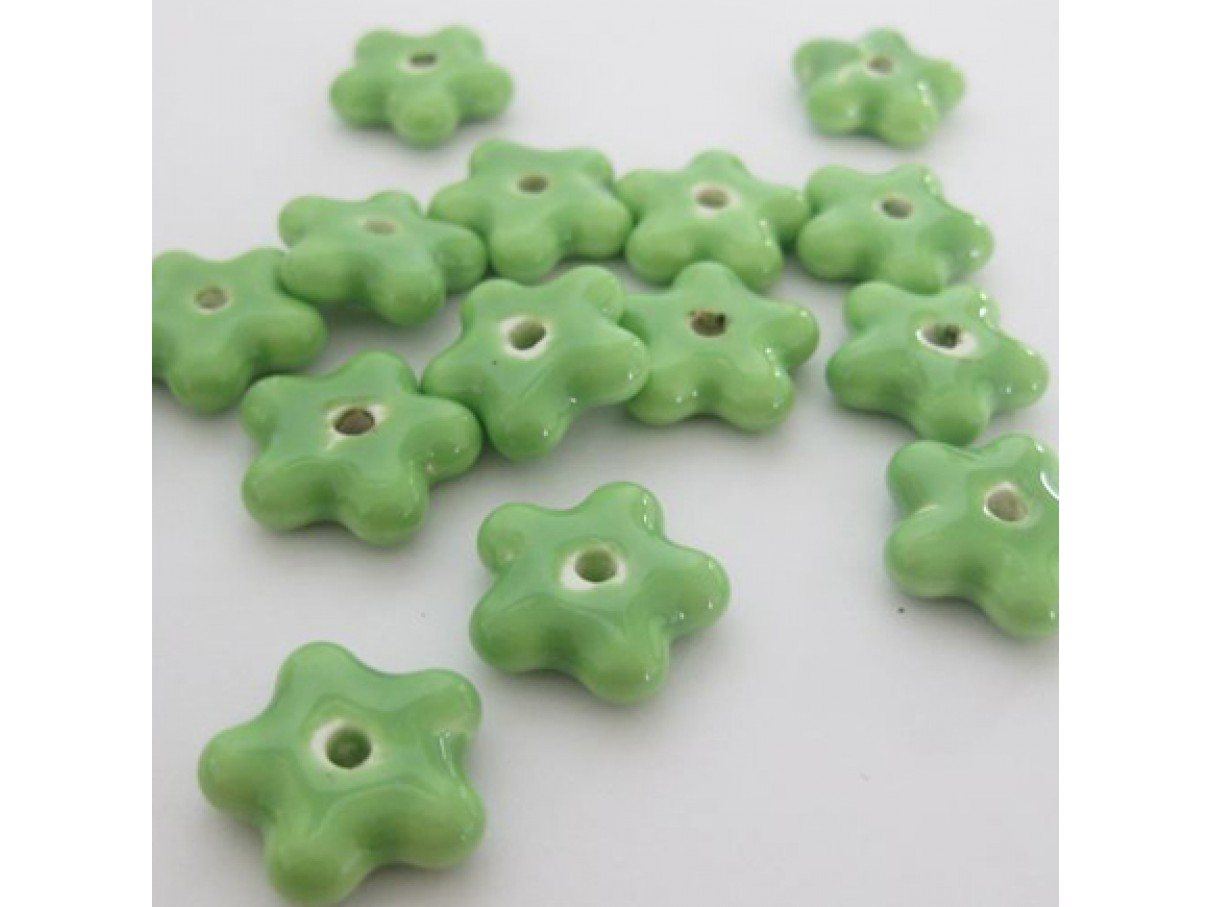 15mm grønne porcelænsblomster, 10 stk
