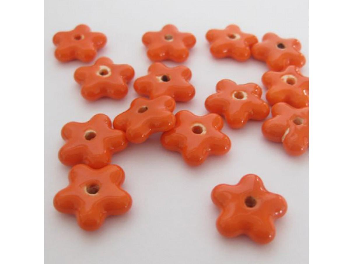 15mm orange porcelænsblomster, 10 stk