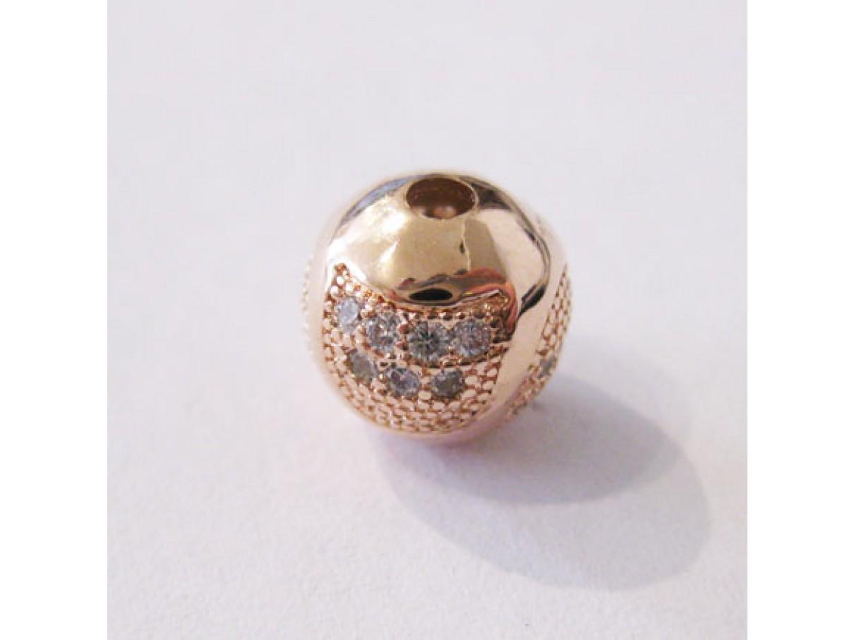 9mm rosaguld perle med zirkoner