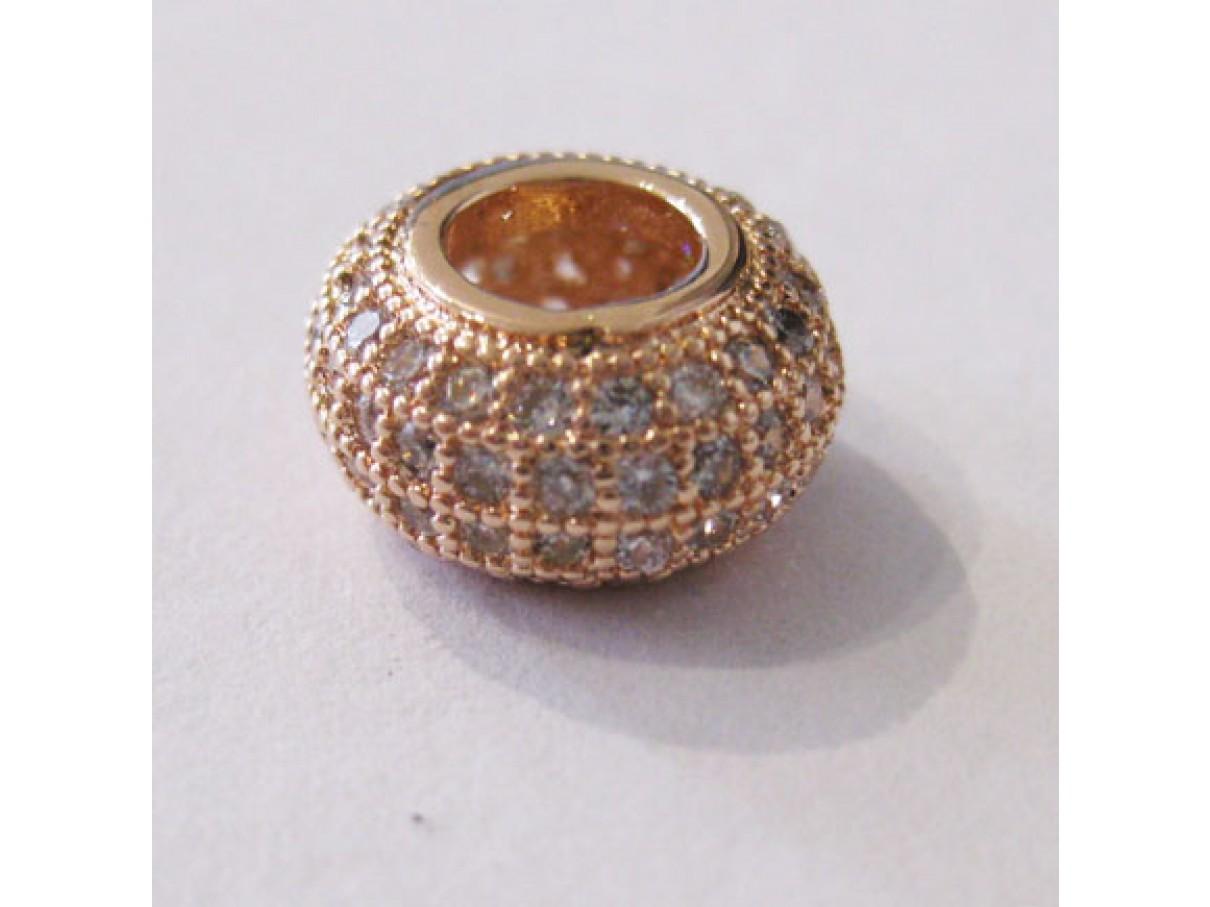 11mm rosaguld rondel perle med zirkoner