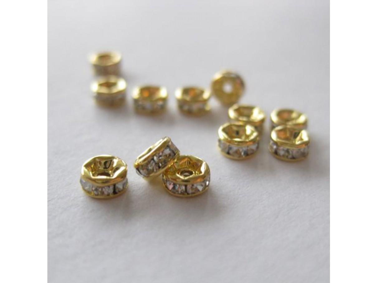4mm rhinstens rondeller, guldbelagte med klare sten