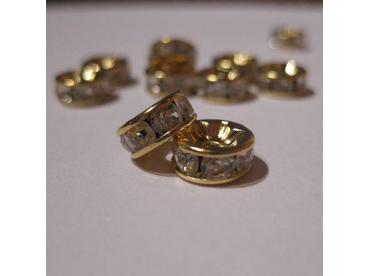 8mm rhinstens rondeller, guldbelagte med klare sten