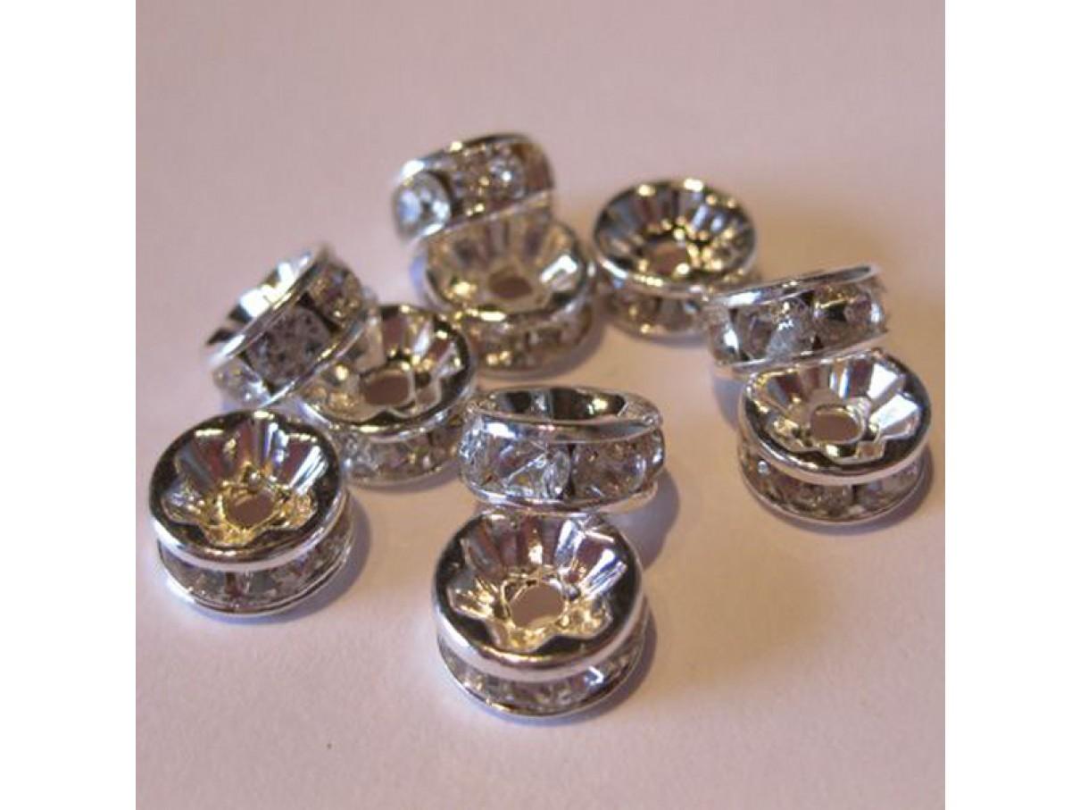 6mm rhinstens rondeller, sølvbelagte med klare sten, 10 stk
