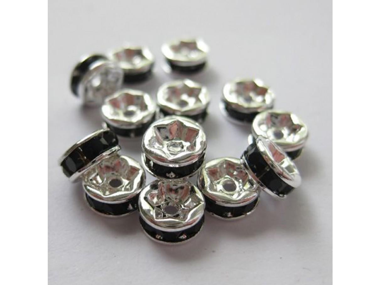 6mm rhinstens rondeller, sølvbelagte med sorte sten