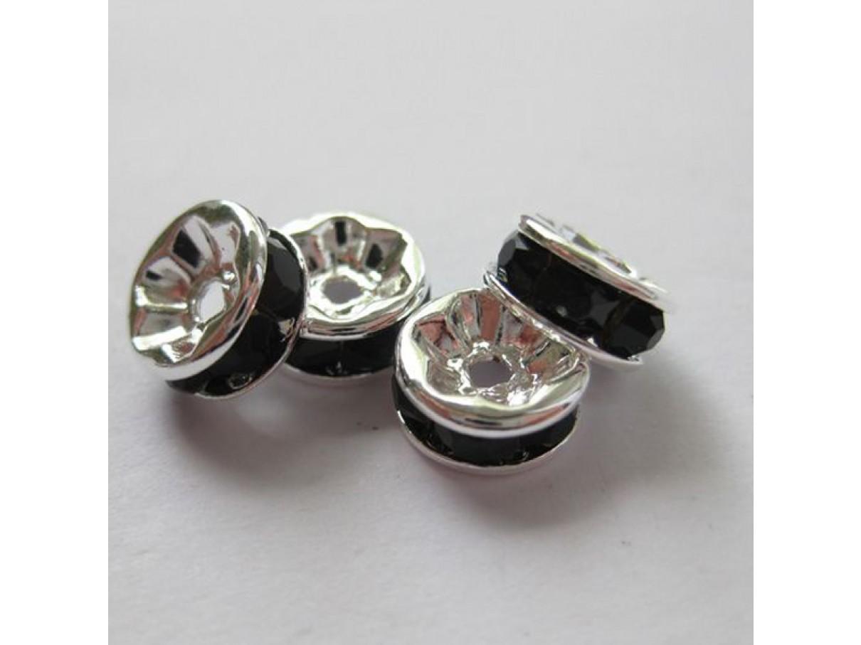8mm rhinstens rondeller, sølvbelagte med sorte sten