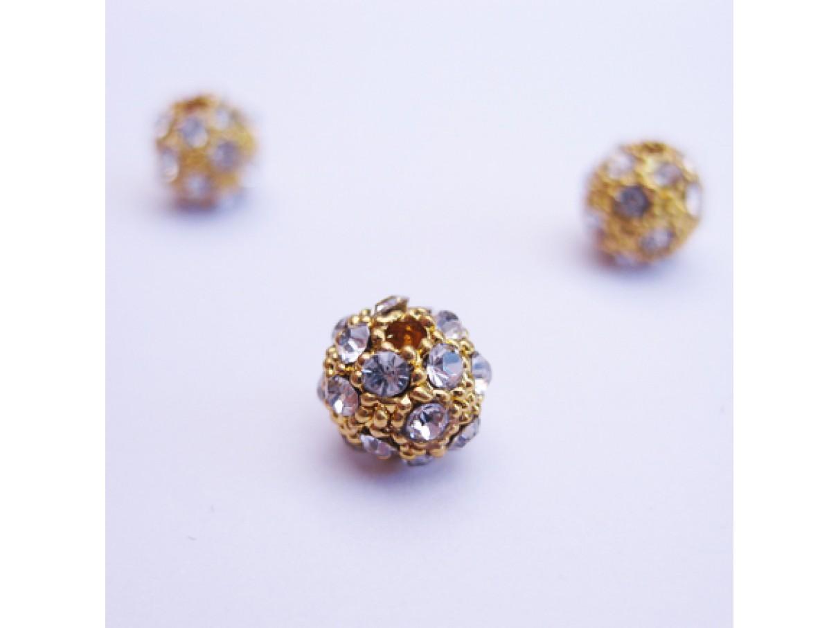 Forgyldt metal perle med rhinsten, 6mm