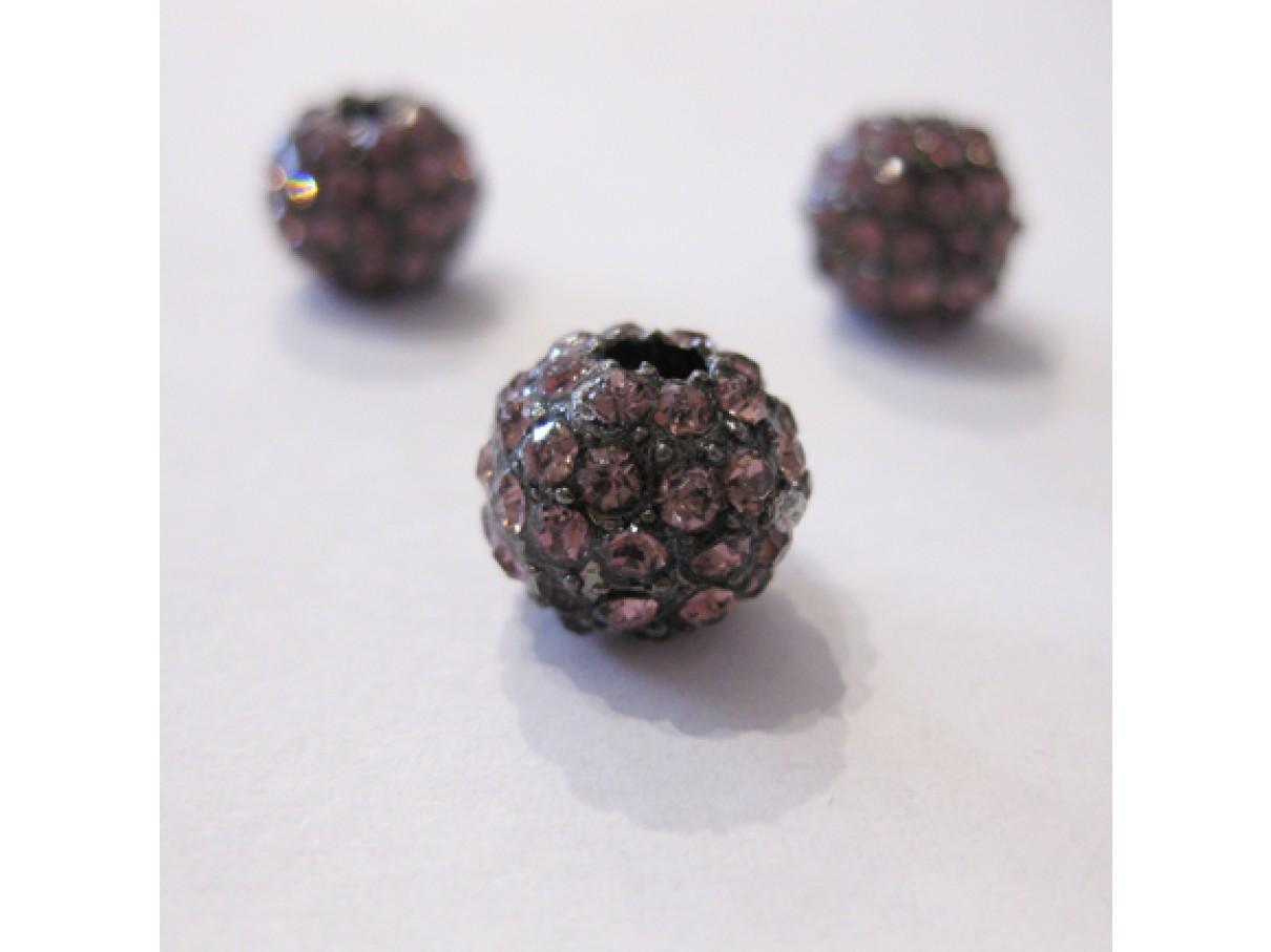 10mm rhinstens belagt metalperle, gunmetal med rosa sten