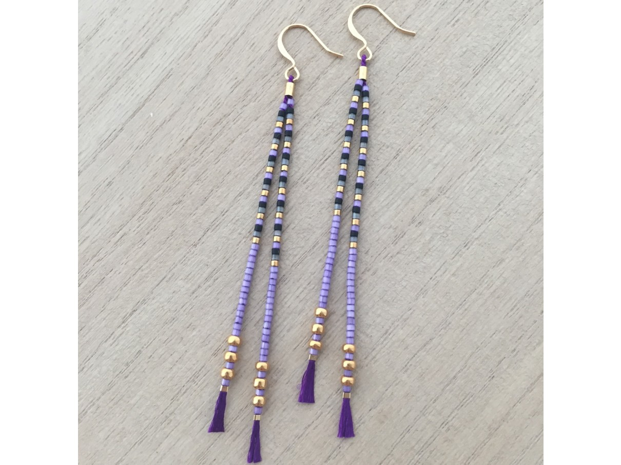 eadf406b9b0 Lilla tassel øreringe med miyuki delica perler på silkesnor