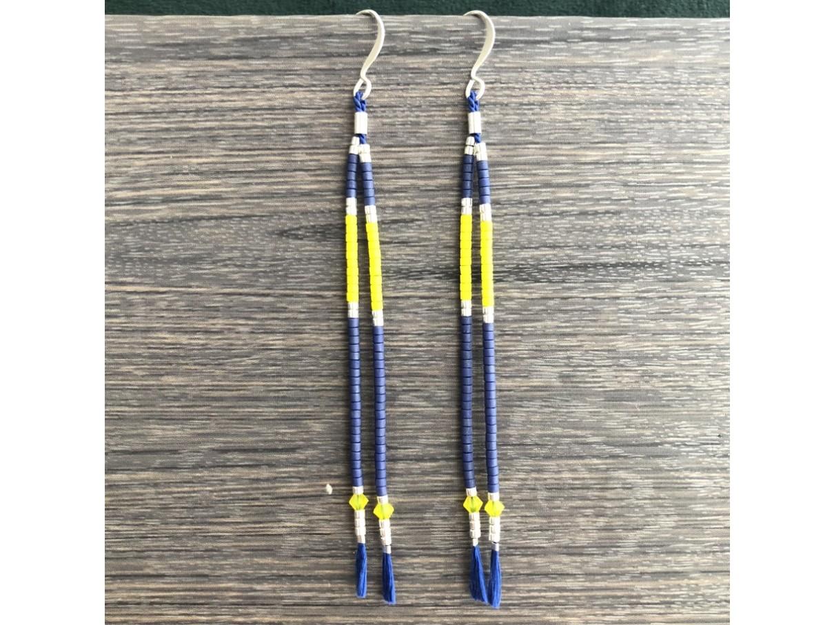 gule og blå tassel øreringe