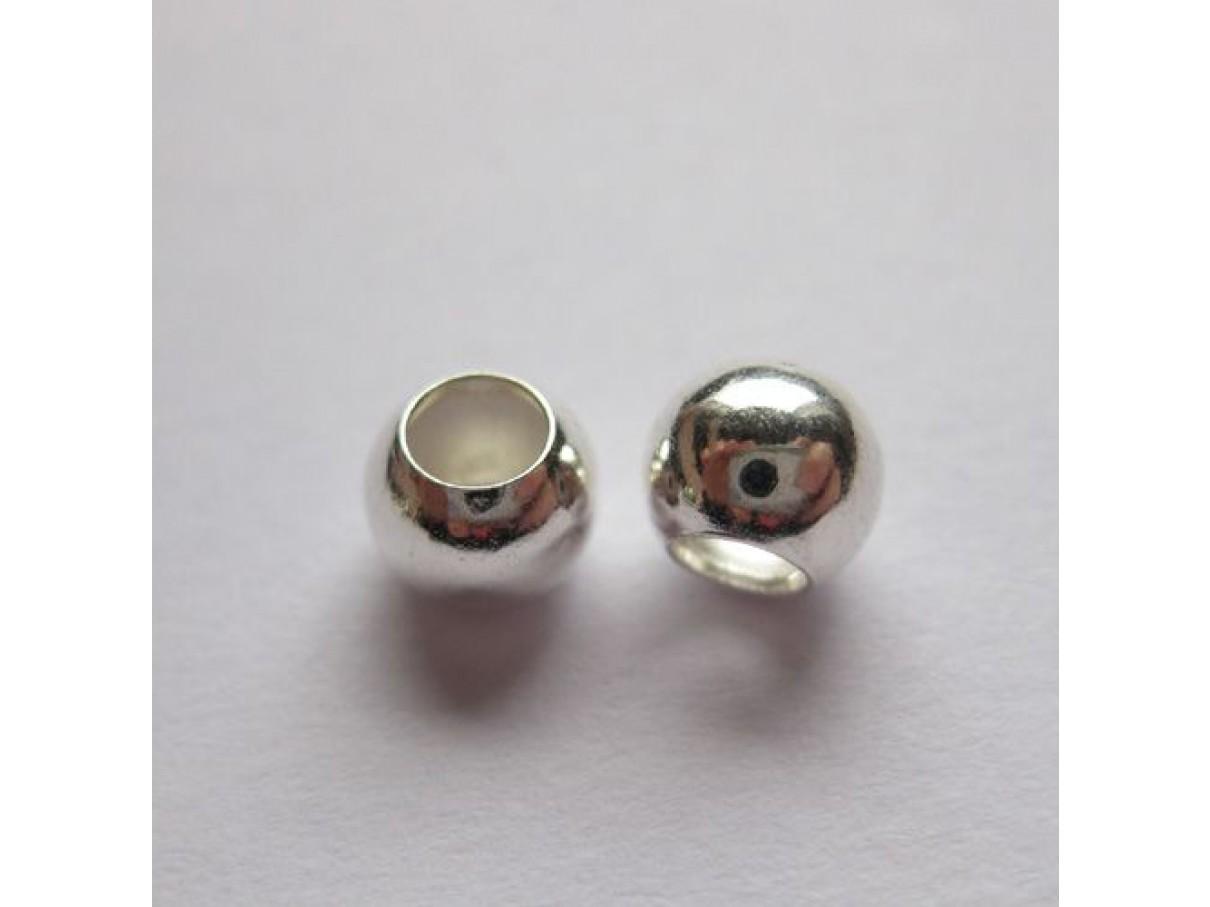 6mm sølvbelagte perler med stort hul, 100 stk