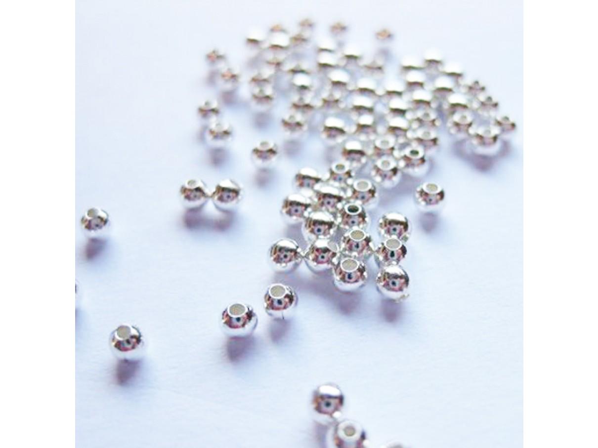 2,4mm sølvbelagte perler, 100 stk