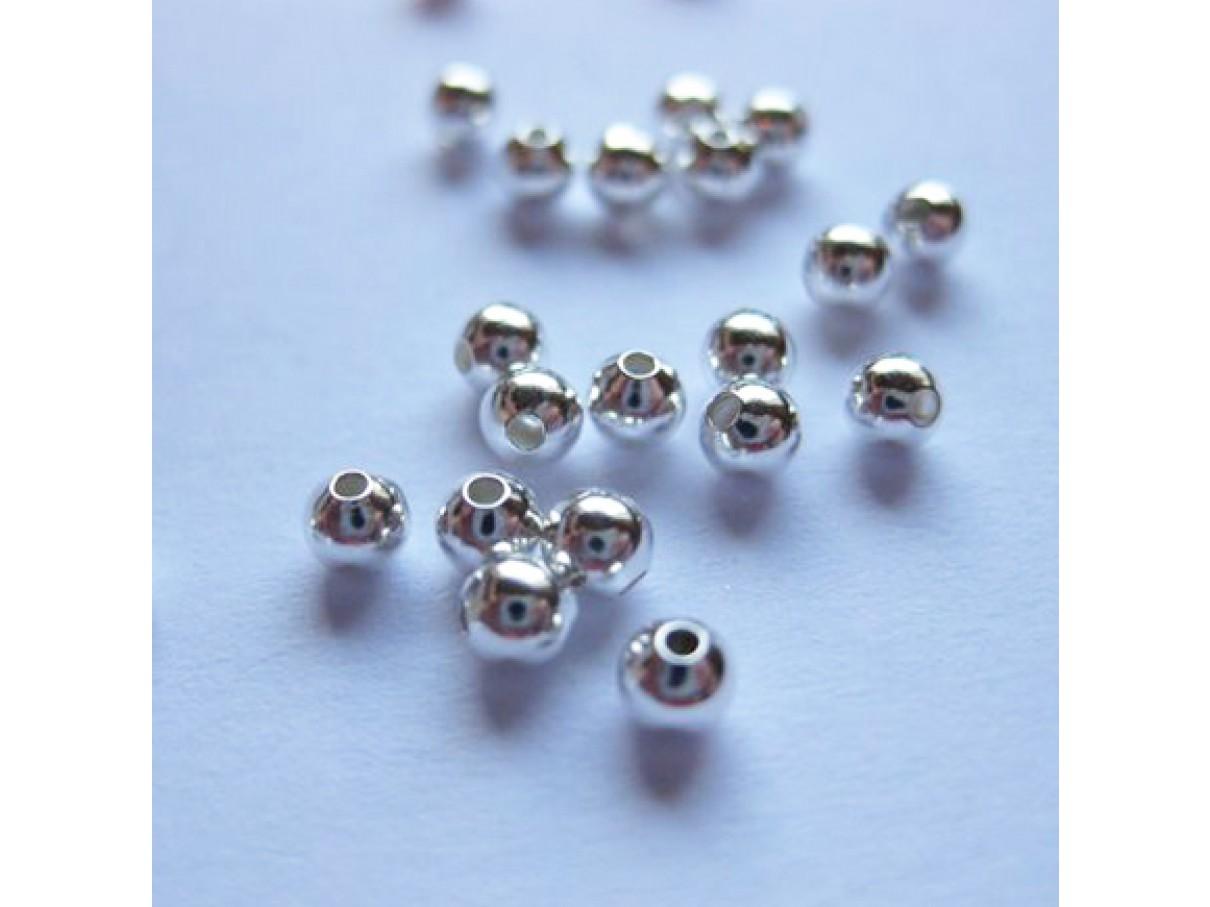3mm forsølvede perler, 100 stk
