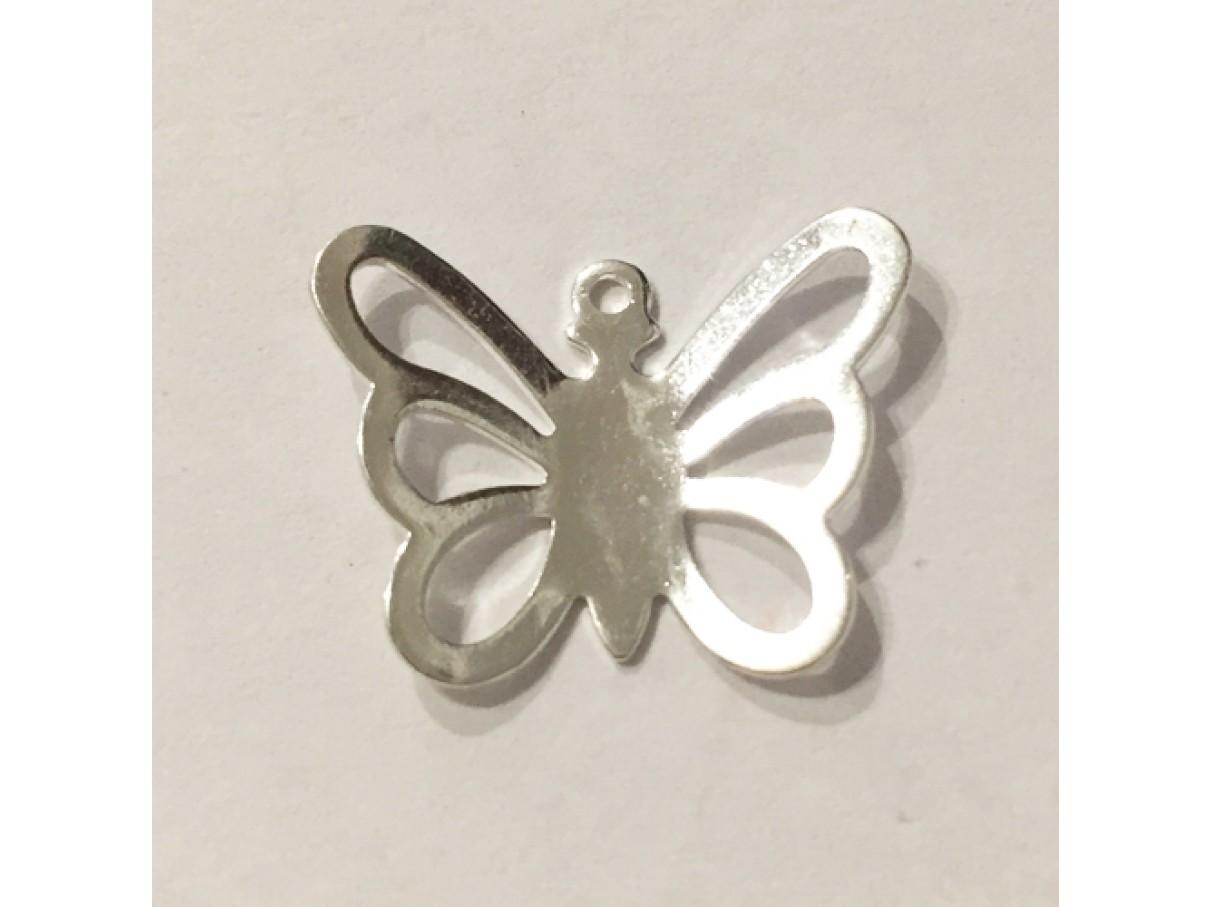20mm forsølvet sommerfugl vedhæng