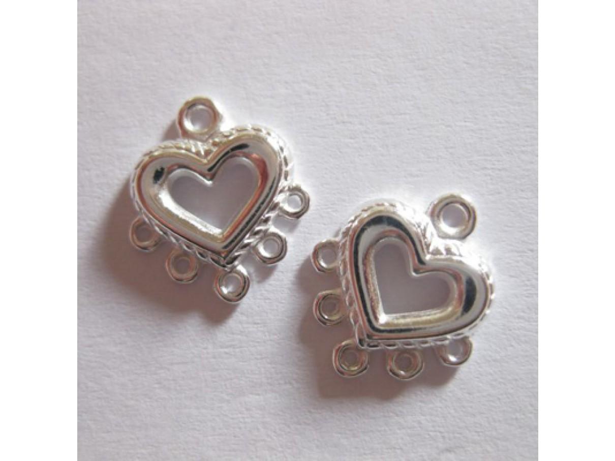 10*9mm forsølvet hjerte vedhæng med 5 loops, 4 stk