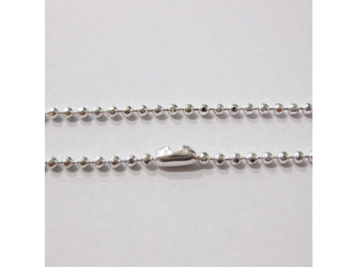 1,5mm facetslebet kuglekæde, sølvbelagt