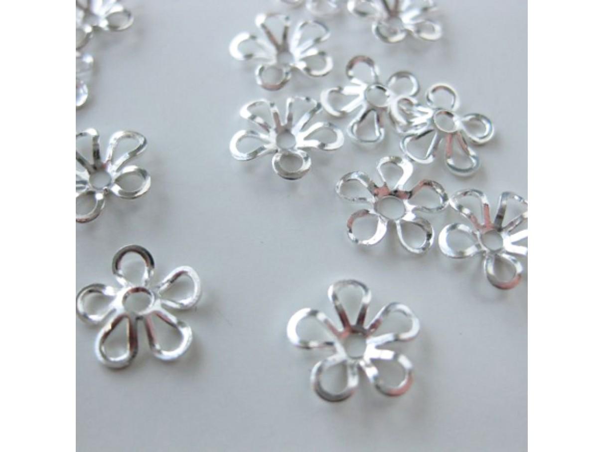 9mm forsølvede blomster perleskåle