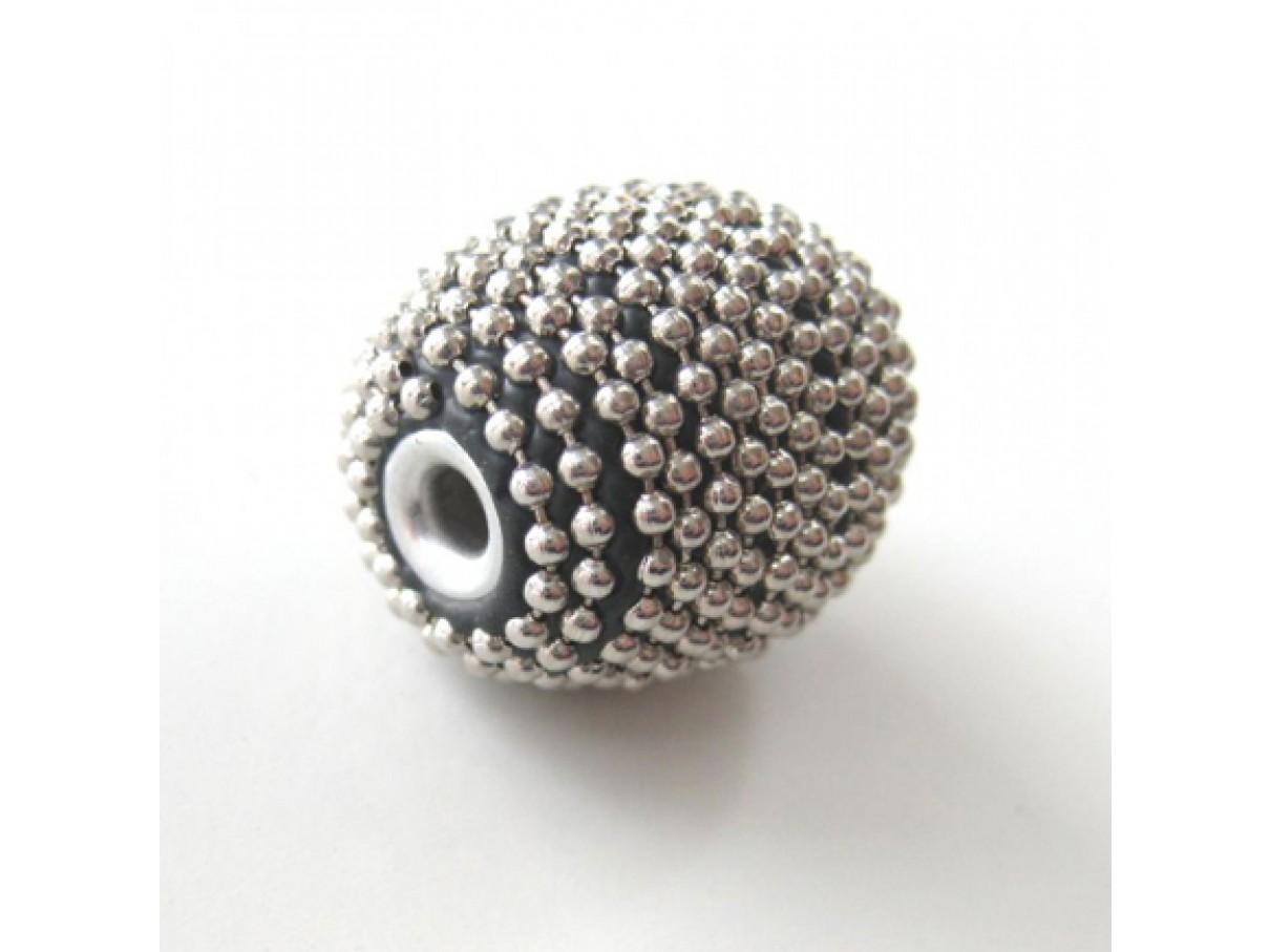 20*18mm forsølvet perle indonesisk design