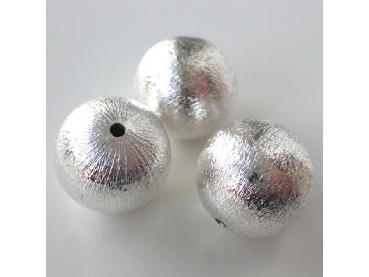 18mm forsølvet perle med satin finish