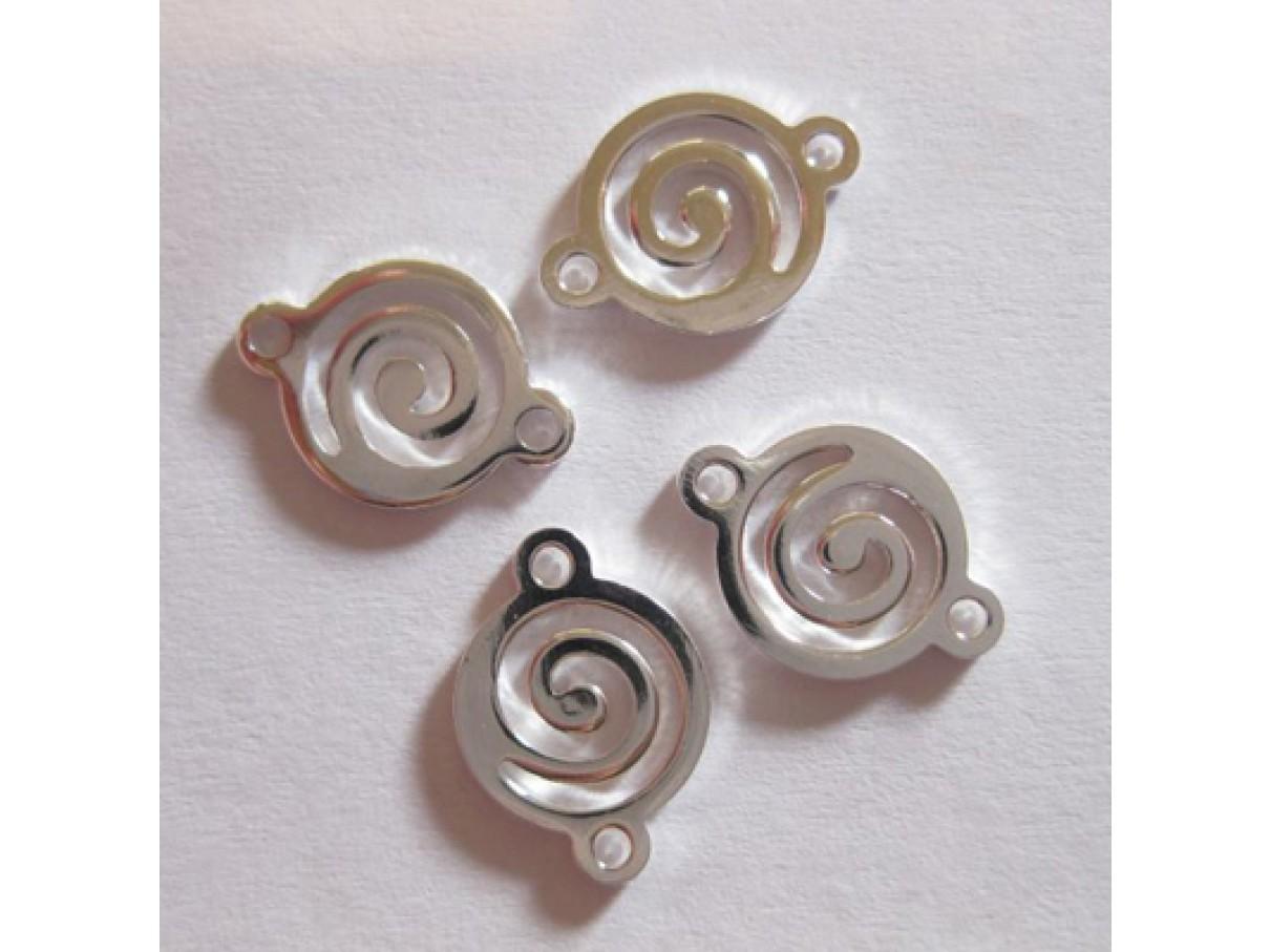 10mm forsølvede spiral links, 4 stk