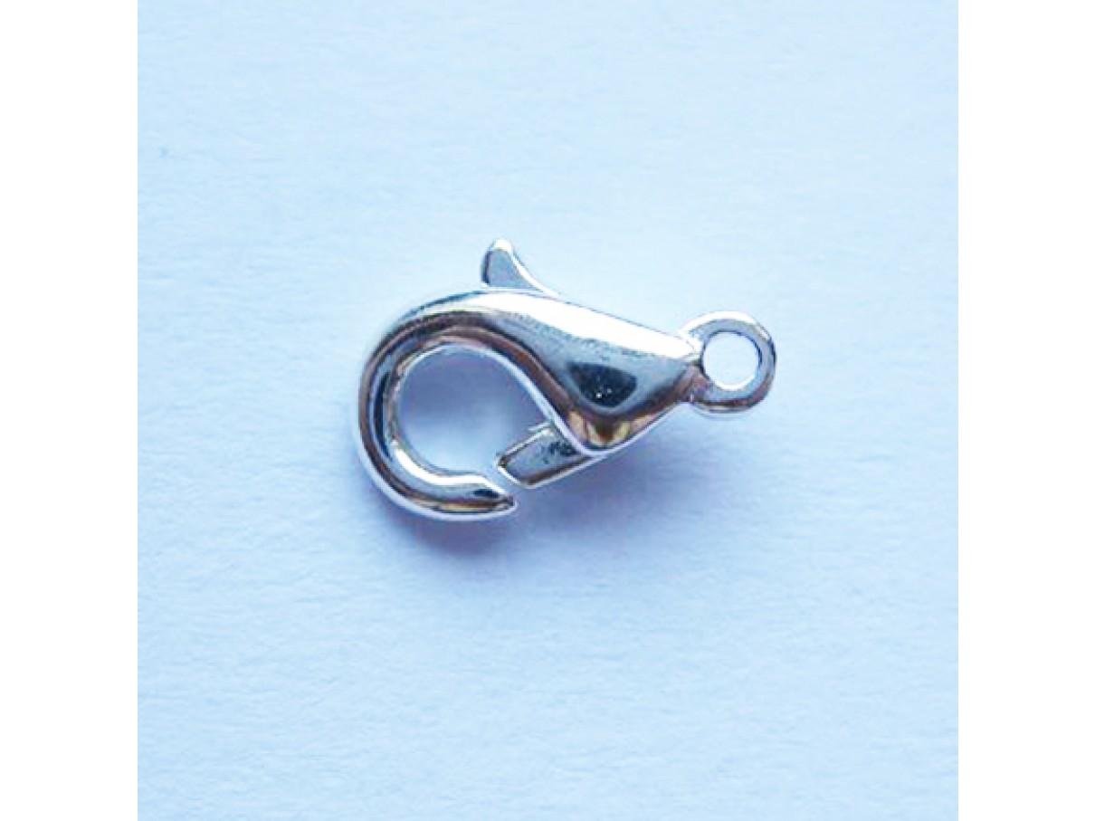 Karabinhage, sølvbelagt 10x5mm, 10 stk