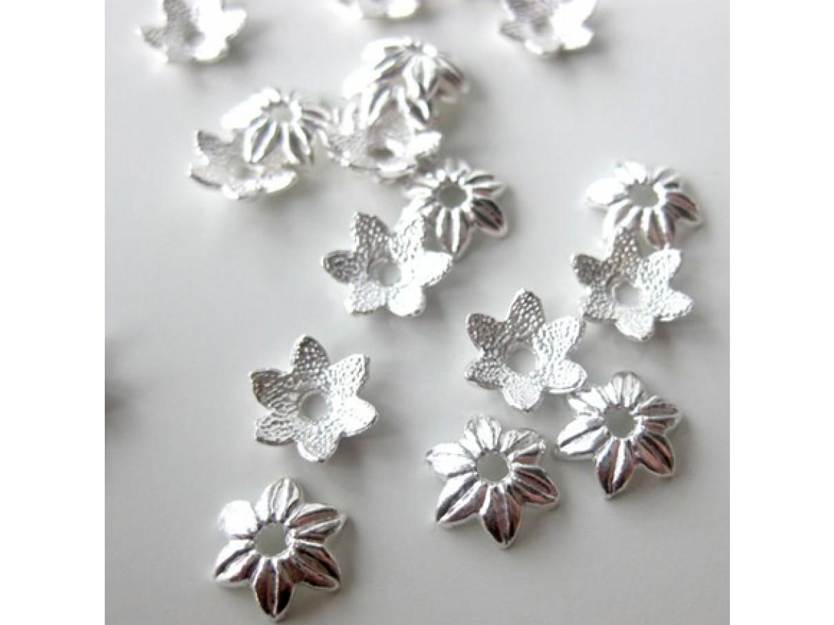 10mm sølvbelagte blomster perleskåle, 20 stk