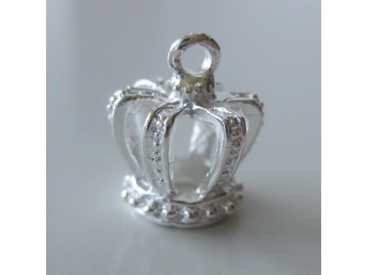 Sølvbelagt kongekrone vedhæng