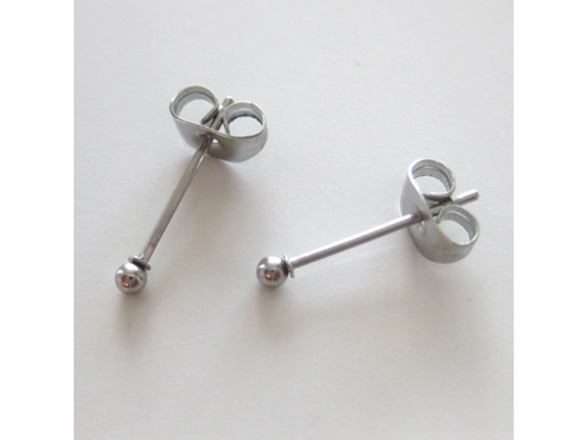 Ørestikker i rustfrit stål med 2mm kugle, 5 par-3